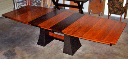 Lacewood and Wenge Extending Dining Table